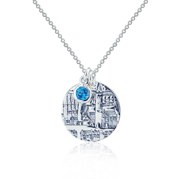 Sterling Silver Pendant with Swiss Blue Topaz – St Andrews Collection - Dominic Walmsley