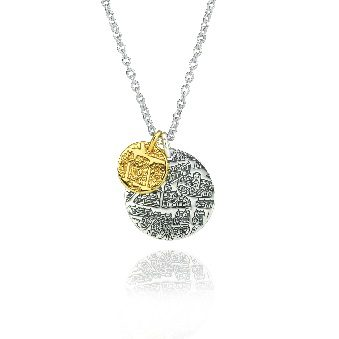 Sterling silver and gold double pendant – St Andrews collection - Dominic Walmsley