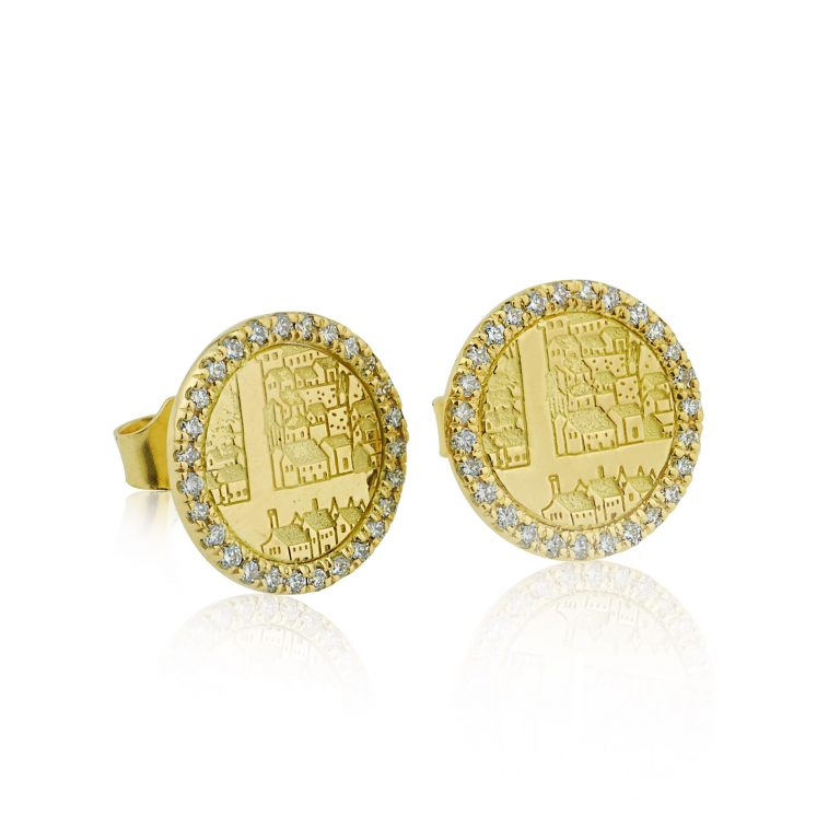 Gold and diamond earrings from designer-maker Dominic Walmsley