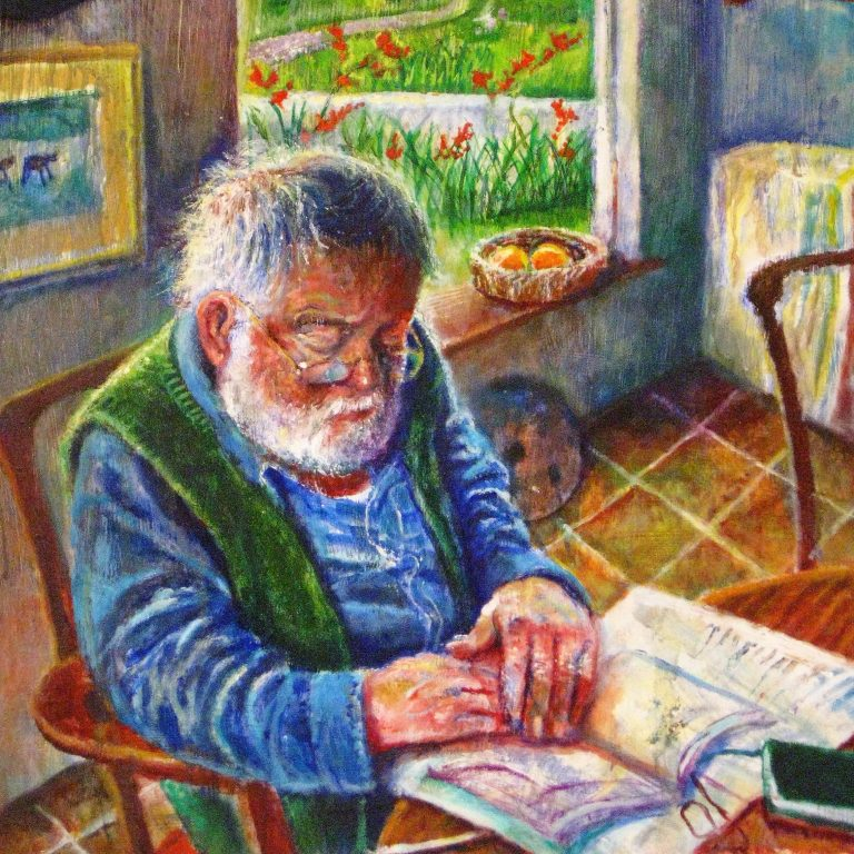 My Father in the Cottage by Sarah Longley. Portrait of the artist's father, poet Michael Longley
